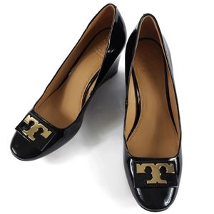 Tory Burch black patent wedge heel size 8